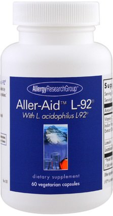 Aller-Aid L-92 with L. Acidophilus L-92, 60 Vegetarian Capsules by Allergy Research Group, 補品,健康,過敏 HK 香港
