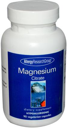 Magnesium Citrate, 90 Veggie Caps by Allergy Research Group, 補充劑,礦物質,檸檬酸鎂 HK 香港