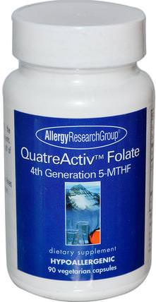 QuatreActiv Folate, 4th Generation 5-MTHF, 90 Veggie Caps by Allergy Research Group, 維生素,葉酸,5-mthf葉酸(5甲基四氫葉酸) HK 香港
