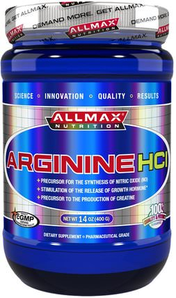 100% Pure Arginine HCI Maximum Strength + Absorption, 14 oz (400 g) by ALLMAX Nutrition, 補充劑,氨基酸,運動,精氨酸 HK 香港