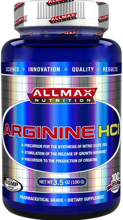100% Pure Arginine HCI Maximum Strength + Absorption, 3.5 oz (100 g) by ALLMAX Nutrition, 補充劑,氨基酸,精氨酸,運動,鍛煉 HK 香港