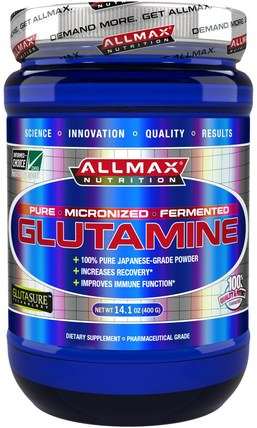 100% Pure Japanese-Grade Glutamine Powder, 14.1 oz (400 g) by ALLMAX Nutrition, 補充劑,氨基酸,運動,l谷氨酰胺粉末 HK 香港