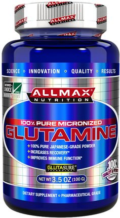 100% Pure Japanese-Grade Glutamine Powder, 3.5 oz (100 g) by ALLMAX Nutrition, 補充劑,氨基酸,l谷氨酰胺,l谷氨酰胺粉末,運動,運動 HK 香港