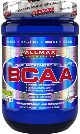 100% Pure Micronized BCAA, Japanese-Grade Branched Chain Amino Acids, Gluten-Free, 80 Servings, 400 g by ALLMAX Nutrition, 補充劑,氨基酸,運動,bcaa(支鏈氨基酸) HK 香港