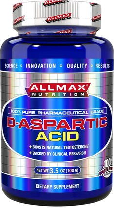100% Pure Pharmaceutical Grade, D-Aspartic Acid, 3.5 oz (100 g) by ALLMAX Nutrition, 健康,能量,運動 HK 香港