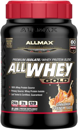 AllWhey Gold, 100% Whey Protein + Premium Whey Protein Isolate, Cinnamon French Toast, 2 lbs (907 g) by ALLMAX Nutrition, 補充劑,乳清蛋白,運動 HK 香港