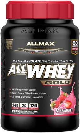 AllWhey Gold, 100% Whey Protein + Premium Whey Protein Isolate, Strawberry, 2 lbs (907 g) by ALLMAX Nutrition, 補充劑,乳清蛋白,運動 HK 香港