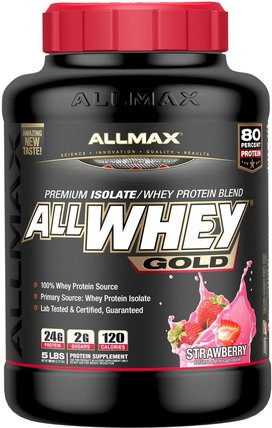 AllWhey Gold, 100% Whey Protein + Premium Whey Protein Isolate, Strawberry, 5 lbs. (2.27 kg) by ALLMAX Nutrition, 補充劑,乳清蛋白,運動 HK 香港