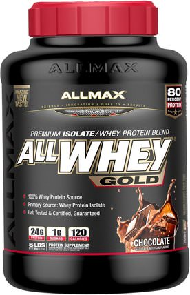 AllWhey Gold, Premium Isolate/Whey Protein Blend, Chocolate, 5 lbs. (2.27 kg) by ALLMAX Nutrition, 補充劑,乳清蛋白,運動 HK 香港