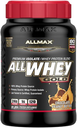 AllWhey Gold, Premium Isolate/Whey Protein Blend, Chocolate Peanut Butter, 2 lbs (907 g) by ALLMAX Nutrition, 補充劑,乳清蛋白,運動 HK 香港