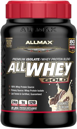AllWhey Gold, Premium Isolate/Whey Protein Blend, Cookies & Cream, 2 lbs (907 g) by ALLMAX Nutrition, 補充劑,乳清蛋白,運動 HK 香港