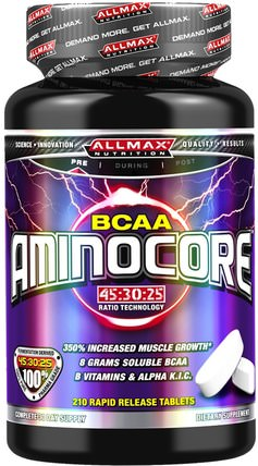 Aminocore, BCAA, 210 Rapid Release Tablets by ALLMAX Nutrition, 體育 HK 香港