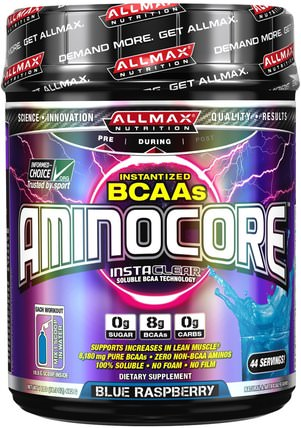 Aminocore, BCAA Max Strength, 8G Branched Chain Amino Acid, Gluten Free, Blue Raspberry, 1 lbs. (462 g) by ALLMAX Nutrition, 體育 HK 香港