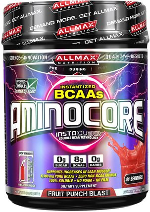 Aminocore, BCAA Max Strength, 8G Branched Chain Amino Acid, Gluten Free, Fruit Punch Blast, 1 lbs. (462 g) by ALLMAX Nutrition, 體育 HK 香港