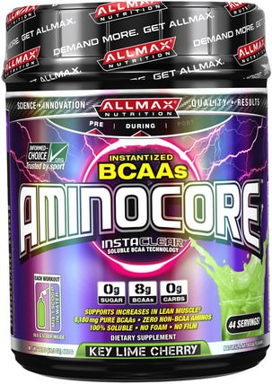 Aminocore, BCAA Max Strength, 8G Branched Chain Amino Acid, Gluten Free, Key Lime Cherry, 1 lbs (462 g) by ALLMAX Nutrition, 體育 HK 香港
