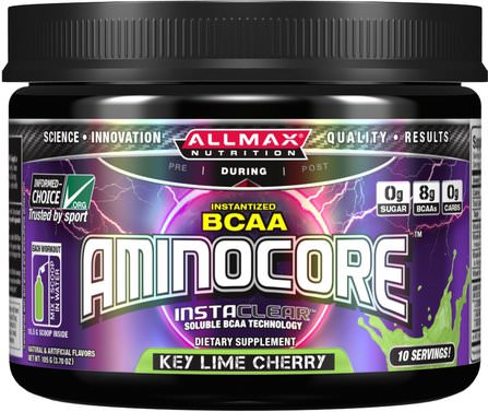 Aminocore, BCAA Max Strength, 8G Branched Chain Amino Acid, Gluten Free, Key Lime Cherry, 105 g by ALLMAX Nutrition, 體育 HK 香港