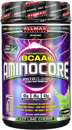 Aminocore, BCAA Max Strength, 8G Branched Chain Amino Acid, Gluten Free, Key Lime Cherry, 41.12 oz (1166 g) by ALLMAX Nutrition, 體育 HK 香港