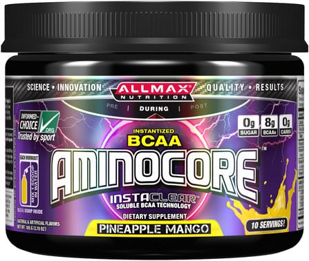 Aminocore, BCAA Max Strength, 8G Branched Chain Amino Acid, Gluten Free, Pineapple Mango, 3.70 oz (105 g) by ALLMAX Nutrition, 體育 HK 香港