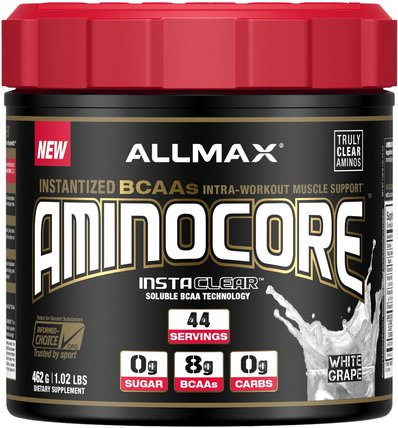 Aminocore, BCAA Max Strength, 8G Branched Chain Amino Acid, Gluten Free, White Grape, 1.02 lbs (462 g) by ALLMAX Nutrition, 補充劑,氨基酸,運動,bcaa(支鏈氨基酸) HK 香港