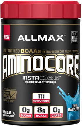 Aminocore, Instantized BCAAs Intra-Workout Muscle Support, Blue Raspberry, 2.57 lbs (1166 g) by ALLMAX Nutrition, 體育 HK 香港