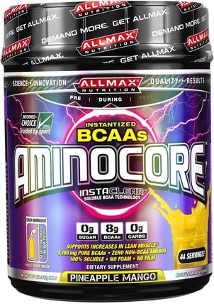 Aminocore, Instantized BCAAs Intra-Workout Muscle Support, Pineapple Mango, 1.02 lbs. (462 g) by ALLMAX Nutrition, 體育 HK 香港