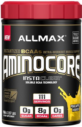 Aminocore, Instantized BCAAs Intra-Workout Muscle Support, Pineapple Mango, 2.57 lbs. (1166 g) by ALLMAX Nutrition, 體育 HK 香港