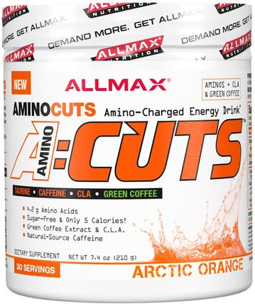 AMINOCUTS (ACUTS), BCAA + Taurine + CLA + Green Coffee, Arctic Orange, 7.4 oz (210 g) by ALLMAX Nutrition, 補充劑,氨基酸,運動,bcaa(支鏈氨基酸) HK 香港
