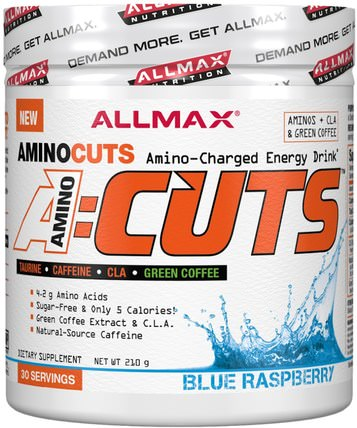 AMINOCUTS (ACUTS), BCAA + Taurine + CLA + Green Coffee, Blue Raspberry, 7.4 oz (210 g) by ALLMAX Nutrition, 健康,能量,運動 HK 香港