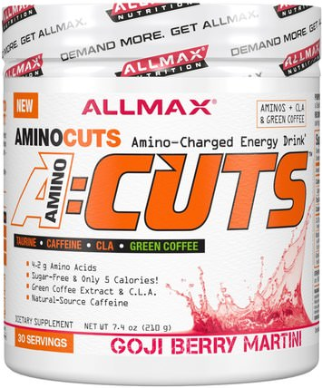AMINOCUTS (ACUTS), BCAA + Taurine + CLA + Green Coffee, Goji Berry Martini, 7.4 oz (210 g) by ALLMAX Nutrition, 補充劑,氨基酸,運動,bcaa(支鏈氨基酸) HK 香港