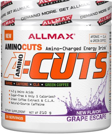 AMINOCUTS (ACUTS), BCAA + Taurine + CLA + Green Coffee, Grape Escape, 210 g by ALLMAX Nutrition, 體育 HK 香港