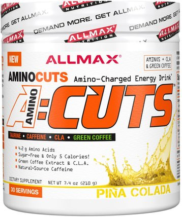 AMINOCUTS (ACUTS), BCAA + Taurine + CLA + Green Coffee, Pina Colada, 7.4 oz (210 g) by ALLMAX Nutrition, 補充劑,氨基酸,運動,bcaa(支鏈氨基酸) HK 香港