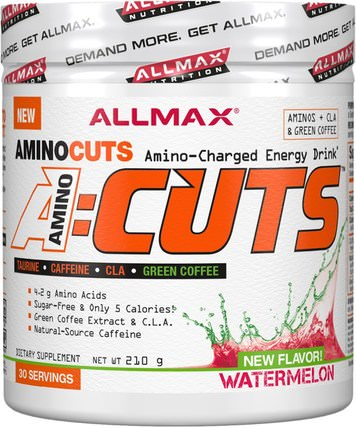 AMINOCUTS (ACUTS), BCAA + Taurine + CLA + Green Coffee, Watermelon, 7.4 oz (210 g) by ALLMAX Nutrition, 健康,能量,運動 HK 香港