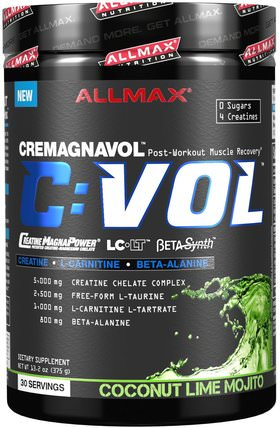 C:VOL, Professional-Grade Creatine + Taurine + L-Carnitine Complex, Coconut Lime Mojito, 13.2 oz (375 g) by ALLMAX Nutrition, 運動,肌酸 HK 香港