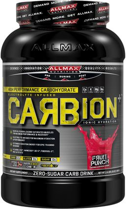 CARBion+, Maximum Strength Electrolyte + Hydration Energy Drink, Fruit Punch, 2.46 lbs. (1.12 k) by ALLMAX Nutrition, 運動,鍛煉 HK 香港
