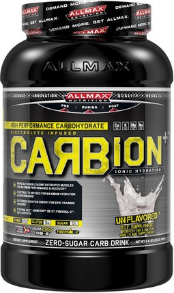 CARBion+, Maximum Strength Electrolyte + Hydration Energy Drink, Unflavored, 2.4 lbs (1080 g) by ALLMAX Nutrition, 運動,鍛煉 HK 香港