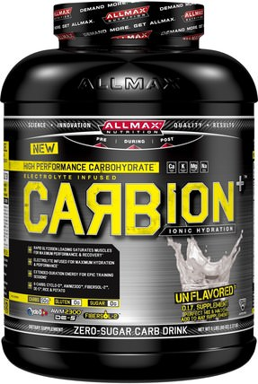 ALLMAX Nutrition, CARBion+, Maximum Strength Electrolyte + Hydration Energy Drink, Unflavored, 5 lbs (2.27 kg) 運動,鍛煉