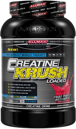 Creatine Krush Loaded, 100% Pharma-Grade Creatine + L-Glutamine + Electrolyte Rehydration, Fruit Punch, 3.3 lbs (1500 g) by ALLMAX Nutrition, 運動,肌酸 HK 香港