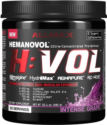 H:VOL, Nitric Oxide Pre-Workout + Vascular Blood Volumizer Intense Grape, 10.1 oz (285 g) by ALLMAX Nutrition, 運動,運動 HK 香港