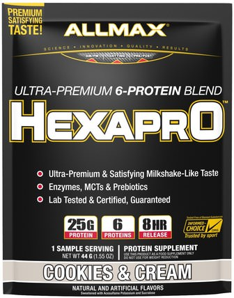 Hexapro, Ultra-Premium, 6-Protein Blend, Cookies & Cream, 1 Sample Serving, 1.55 oz (44 g) by ALLMAX Nutrition, 運動,補品,乳清蛋白 HK 香港