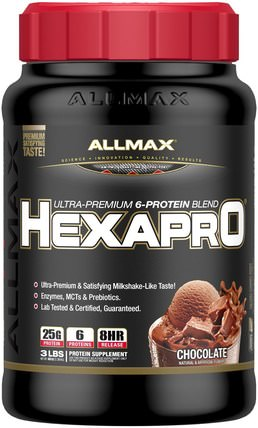 Hexapro, Ultra-Premium Protein + MCT & Coconut Oil, Chocolate, 3 lbs (1.36 kg) by ALLMAX Nutrition, 食物,酮友好 HK 香港