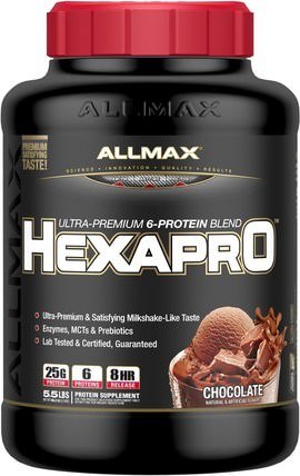 Hexapro, Ultra-Premium Protein + MCT & Coconut Oil, Chocolate, 5.5 lbs (2.5 kg) by ALLMAX Nutrition, 食物,酮友好 HK 香港