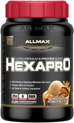 Hexapro, Ultra-Premium Protein + MCT & Coconut Oil, Chocolate Peanut Butter, 3 lbs (1.36 kg) by ALLMAX Nutrition, 食物,酮友好 HK 香港