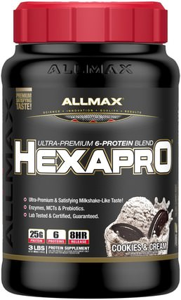 Hexapro, Ultra-Premium Protein + MCT & Coconut Oil, Cookies & Cream, 3 lbs (1.36 kg) by ALLMAX Nutrition, 食物,酮友好 HK 香港