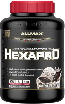 Hexapro, Ultra-Premium Protein + MCT & Coconut Oil, Cookies & Cream, 5.5 lbs (2.5 kg) by ALLMAX Nutrition, 食物,酮友好 HK 香港