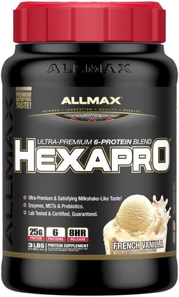 Hexapro, Ultra-Premium Protein + MCT & Coconut Oil, French Vanilla, 3 lbs (1.36 kg) by ALLMAX Nutrition, 食物,酮友好 HK 香港