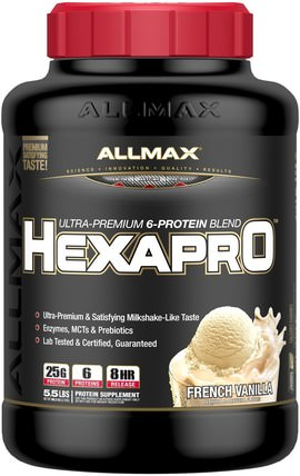 Hexapro, Ultra-Premium Protein + MCT & Coconut Oil, French Vanilla, 5.5 lbs (2.5 kg) by ALLMAX Nutrition, 食物,酮友好 HK 香港