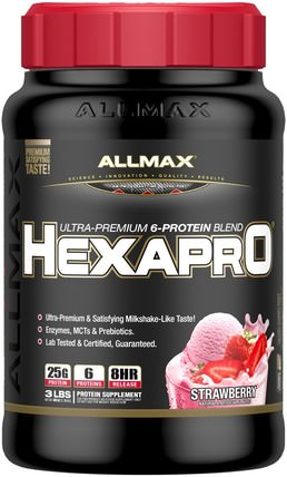 Hexapro, Ultra-Premium Protein + MCT & Coconut Oil, Strawberry, 3 lbs (1.36 g) by ALLMAX Nutrition, 食物,酮友好 HK 香港