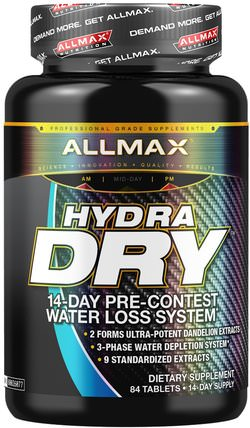 HydraDry, Ultra-Potent Diuretic + Electrolyte Stabilizer, 84 Tablets by ALLMAX Nutrition, 補充劑,利尿劑水丸,運動 HK 香港