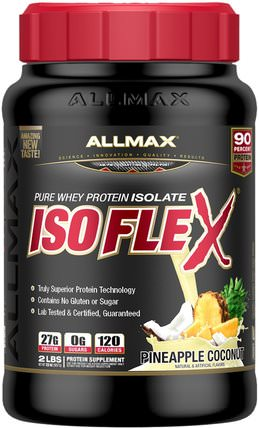 Isoflex, 100% Ultra-Pure Whey Protein Isolate (WPI Ion-Charged Particle Filtration), Pineapple Coconut, 2 lbs (907 g) by ALLMAX Nutrition, 體育 HK 香港