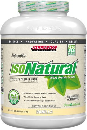 IsoNatural, 100% Ultra-Pure Natural Whey Protein Isolate, Vanilla, 5 lbs (2.27 kg) by ALLMAX Nutrition, 補充劑,乳清蛋白,運動 HK 香港